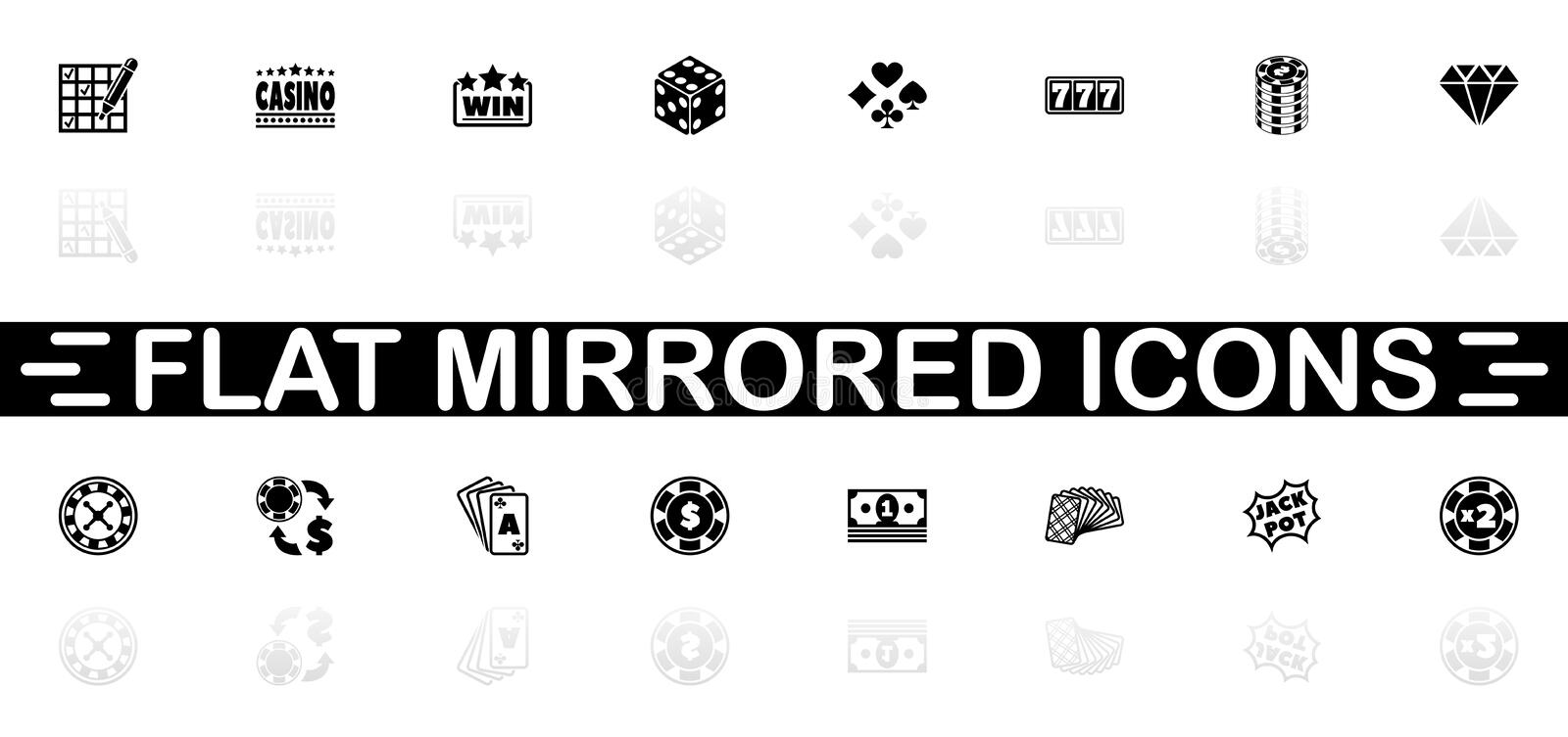 Gambling - Flat Vector Icons. Gambling icons - Black symbol on white background. Simple illustration. Flat Vector Icon. Mirror Reflection Shadow. Can be used in vector illustration