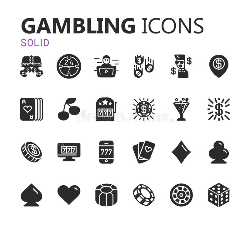 Gambling icons set. Card and casino, poker game. Vector illustration stock images