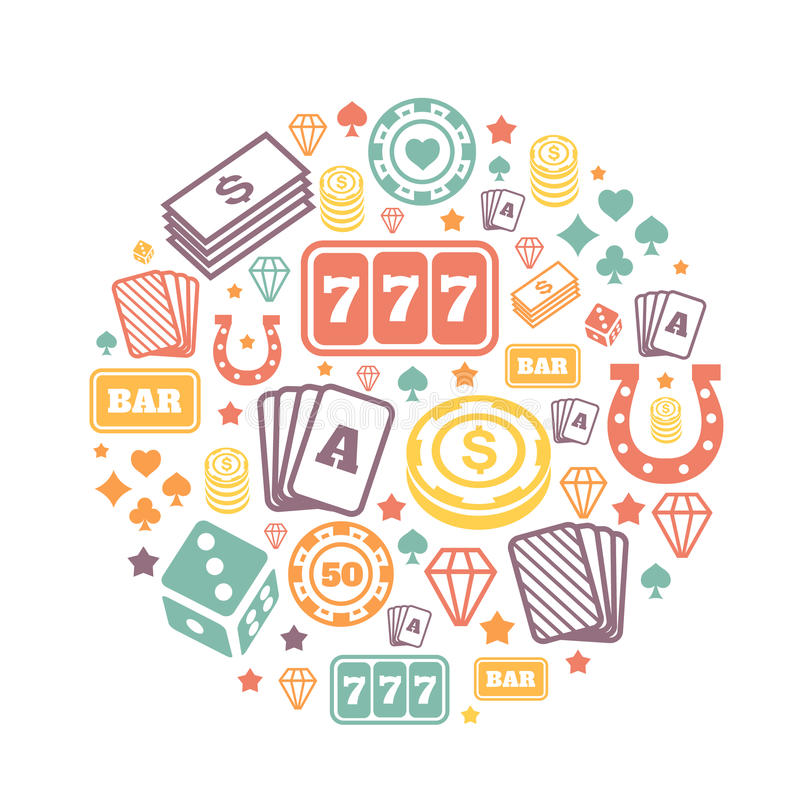 Gambling icons set, casino and card, poker game royalty free illustration