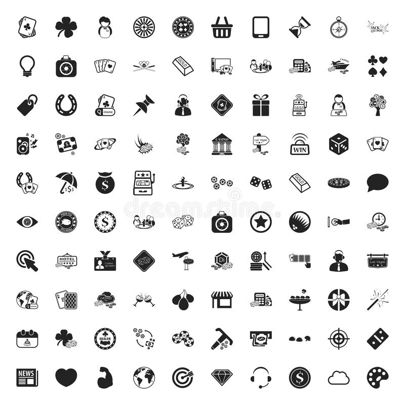 Gambling 100 icons universal set for web and mobile flat. Gambling 100 icons universal set for web and mobile royalty free illustration