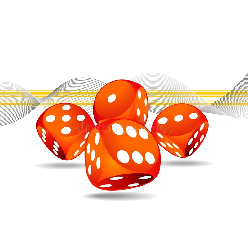 Gambling illustration with four red dice royalty free stock photography