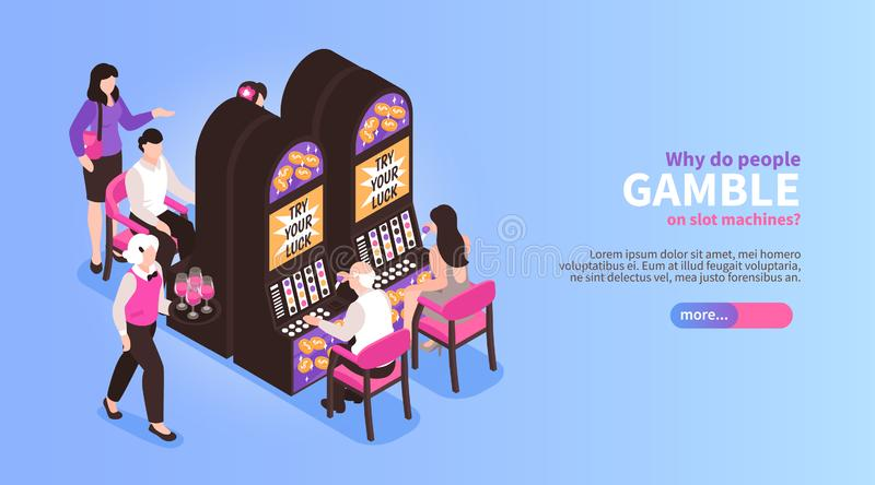 Gambling Machines Isometric Banner. Isometric casino horizontal banner with editable text slider button and images of people at gambling machines vector royalty free illustration