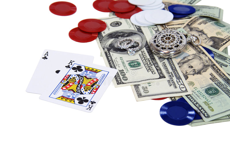 Gambling night. Gambling with high stakes, including engagement ring, money, pocket watch, and credits stock image