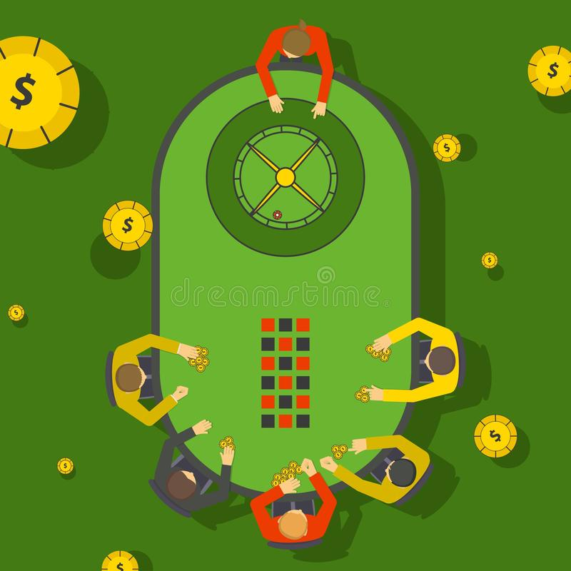 Gambling people at casino roulette table, vector illustration. Players in casino placing bets, view from above. Nightlife entertainment, gamblers in club stock illustration