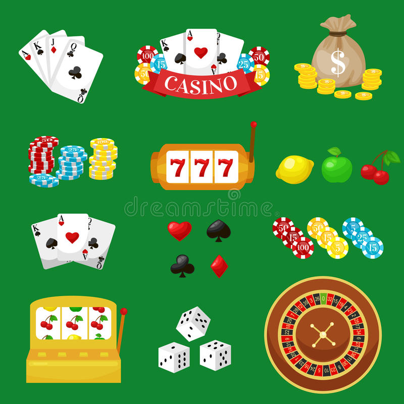 Gambling pictograms set. Deck of cards and casino, playing poker, venturesome game, dice ace vector illustration stock illustration