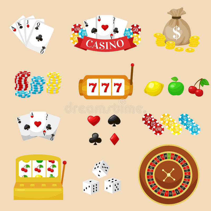 Gambling pictograms set. Deck of cards and casino, playing poker, venturesome game, dice ace vector illustration royalty free illustration