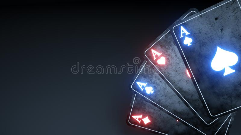 Gambling Poker Cards Concept With Glowing Neon Isolated On The Black Background - 3D Illustration. Gambling Poker Cards Concept With Glowing Neon Isolated On The stock illustration
