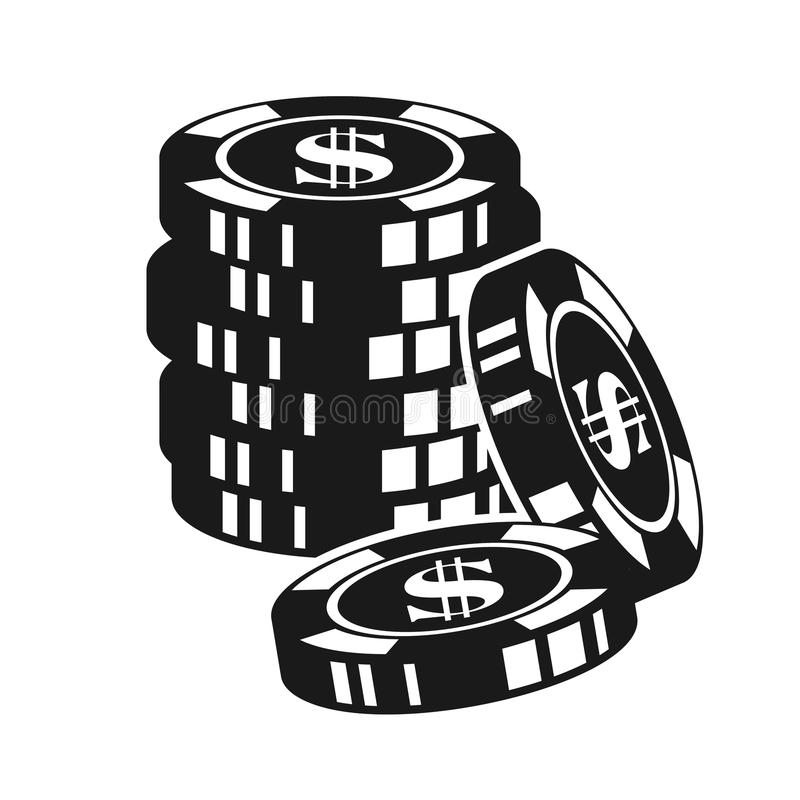 Gambling poker chips vector black illustration. Gambling poker chips vector monochrome illustration isolated on white background royalty free illustration