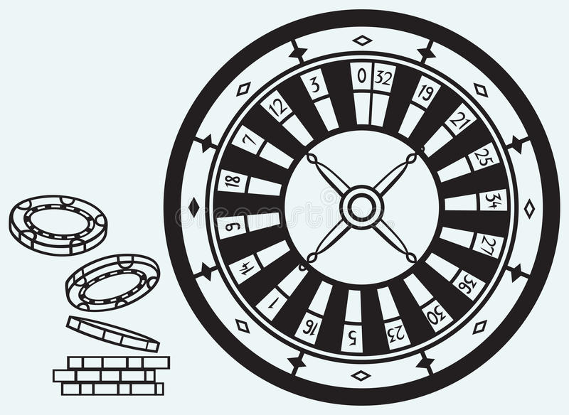 Gambling. Roulette and chips royalty free illustration