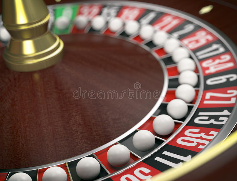 Gambling, roulette game and cheats. Closeup view of a roulette wheels with a ball on every number, concept of cheating (3d render vector illustration