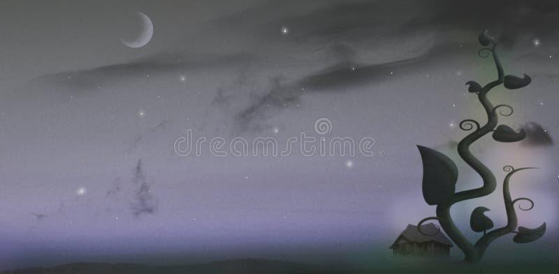 Gambo di una pianta di fagioli gigante alla notte royalty illustrazione gratis
