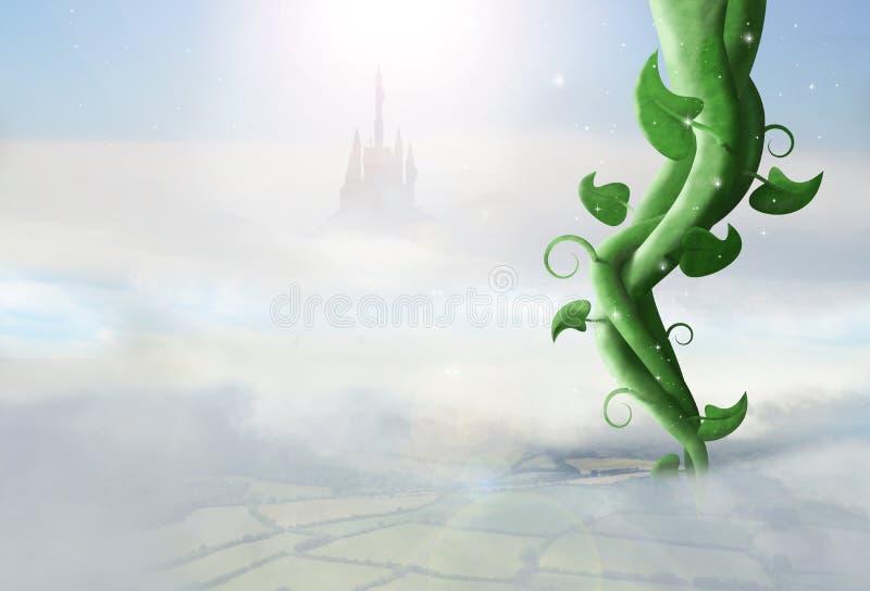 Gambo di una pianta di fagioli scintillare in cielo royalty illustrazione gratis