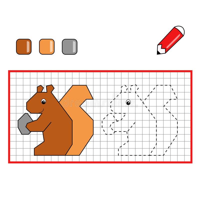 Game 114, the squirrel. Digital illustration of a game for children stock illustration