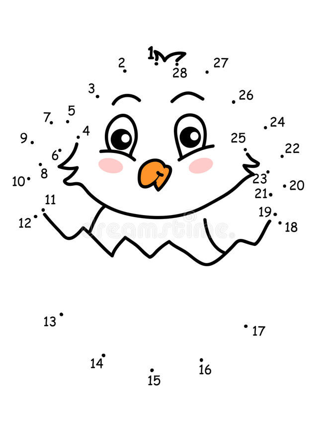 Game 126, the chick. The game of the dots for children stock illustration