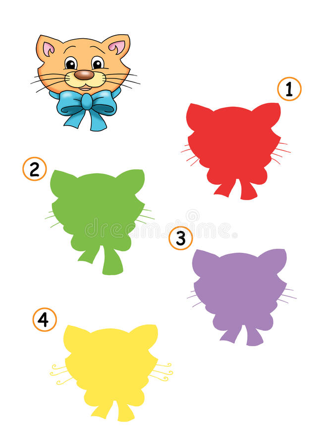 Game 20, the shade of the cat. Digital illustration of a game for children. Find the exact shade of the cat stock illustration