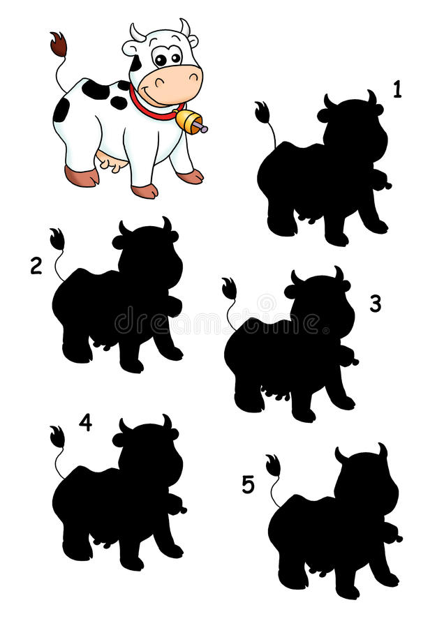 Game 31, the shade of the cow. Digital illustration of a game for children. You find what is the exact shade of the cow royalty free illustration