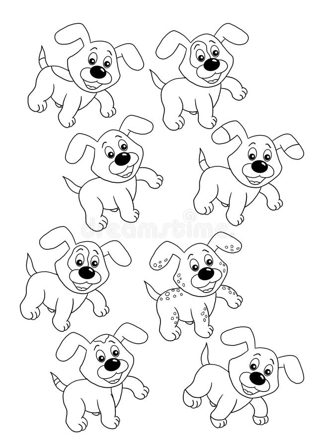 Game 36, only two equal dogs. Digital illustration of a game for children. You find the two equal dogs royalty free illustration