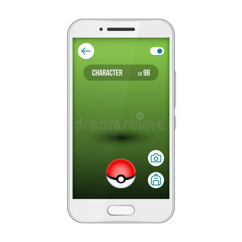 Game app screen pokemon smartphone vector interface. Go, find and catch cute monsters royalty free illustration