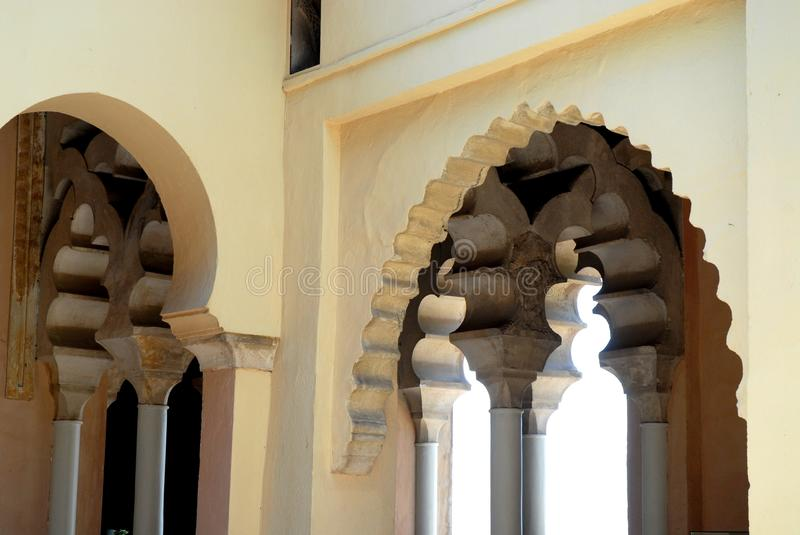Game arches inside the Alcazaba in Malaga in Spain. Photo taken inside the Alcazaba in Malaga in Spain. The image is constituted by a set of edges that form a stock photo