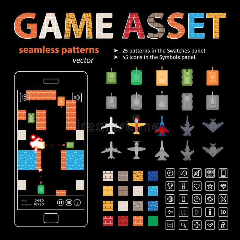 Game Asset Vector Seamless Patterns and Sprites vector illustration