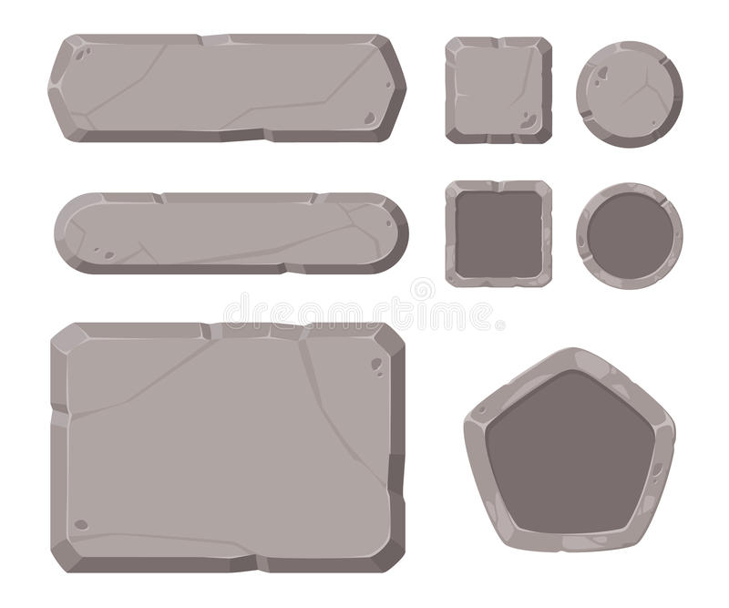Game assets, stone GUI for game. royalty free stock photo