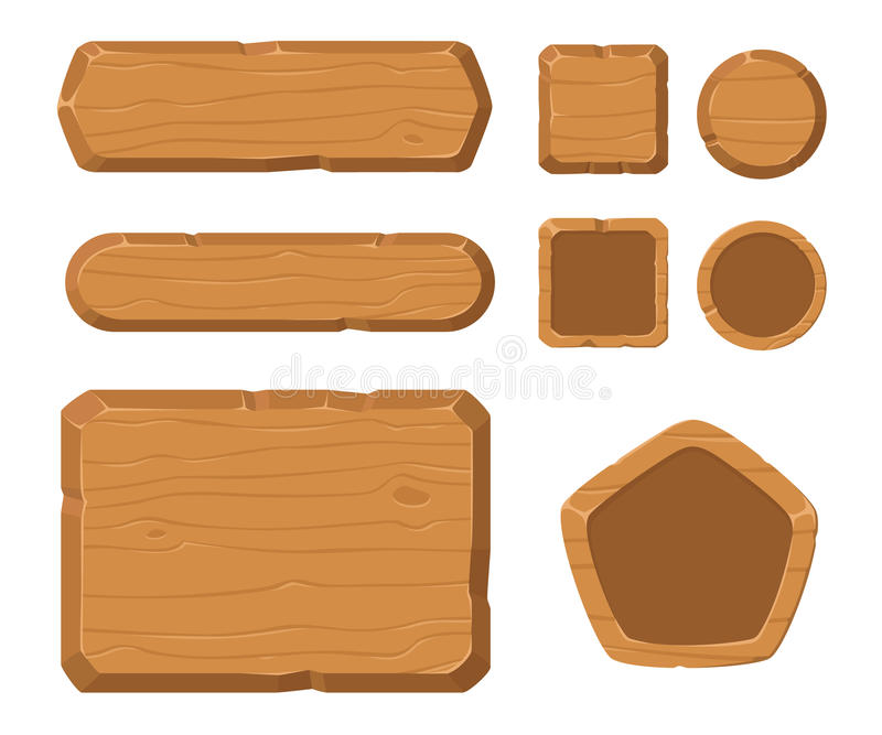 Game assets, wood GUI for game. Button royalty free illustration
