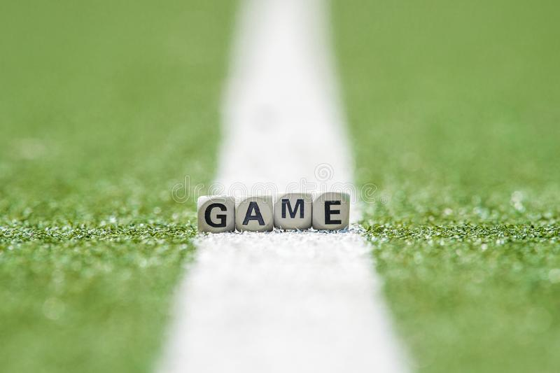 Game background and little cubes with thematic text.  royalty free stock photo