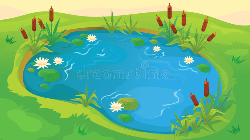 Game Background Of Pond stock illustration