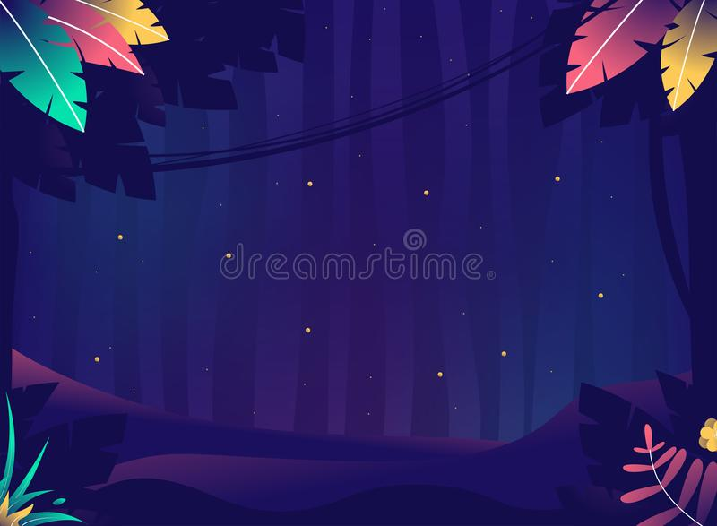 Game background. Summer night with crickets. Jungle with plants and stars royalty free illustration