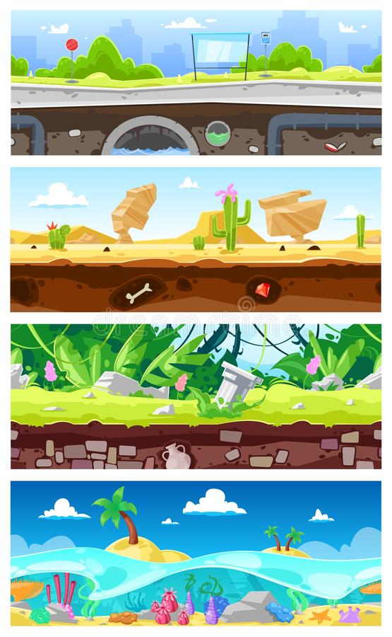 Game background vector cartoon landscape interface gamification and cityscape or urban gaming scene backdrop. Illustration set of underwater ocean or desert vector illustration