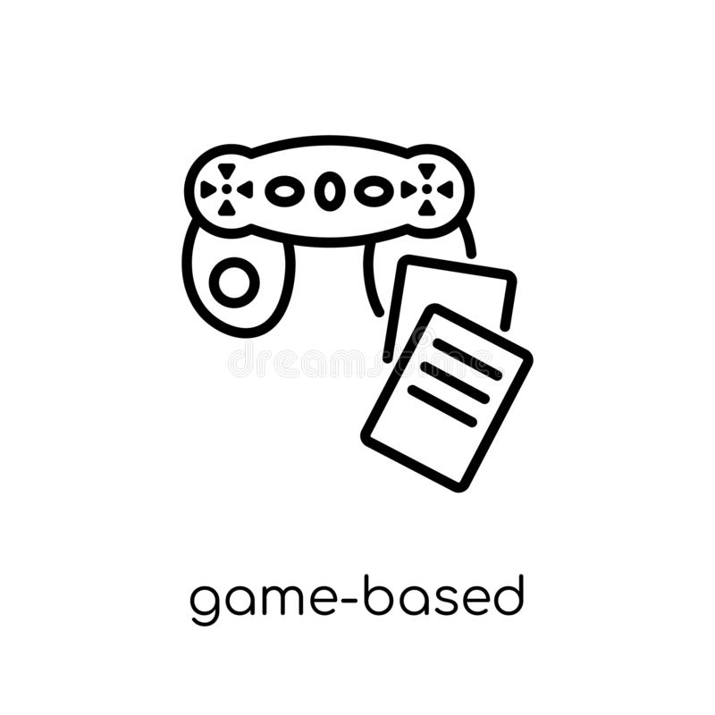game-based learning icon. Trendy modern flat linear vector game-based learning icon on white background from thin line royalty free illustration