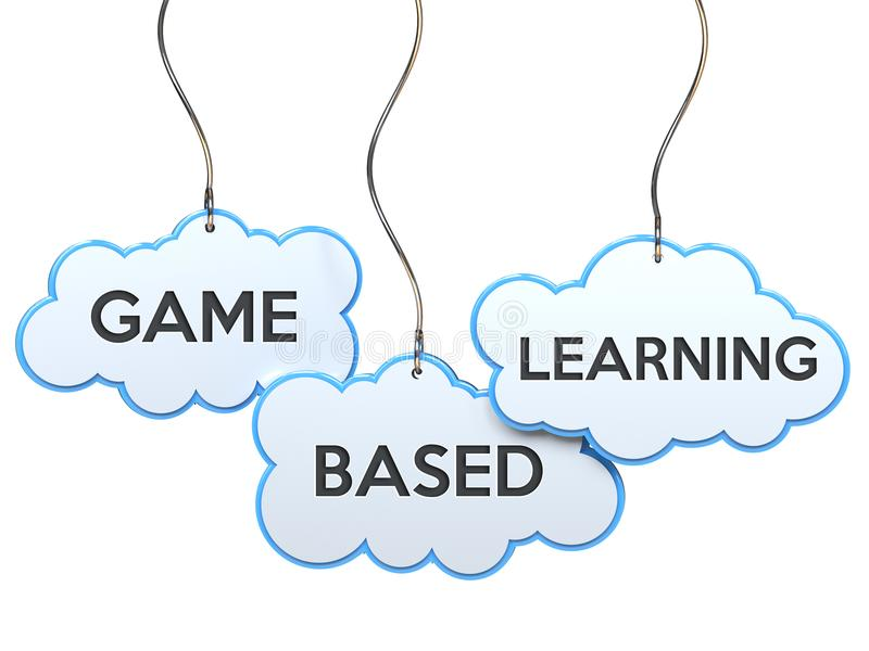 Game based learning on cloud banner royalty free illustration