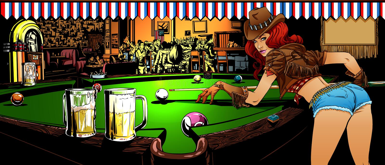 The game of billiards in the bar stock photo