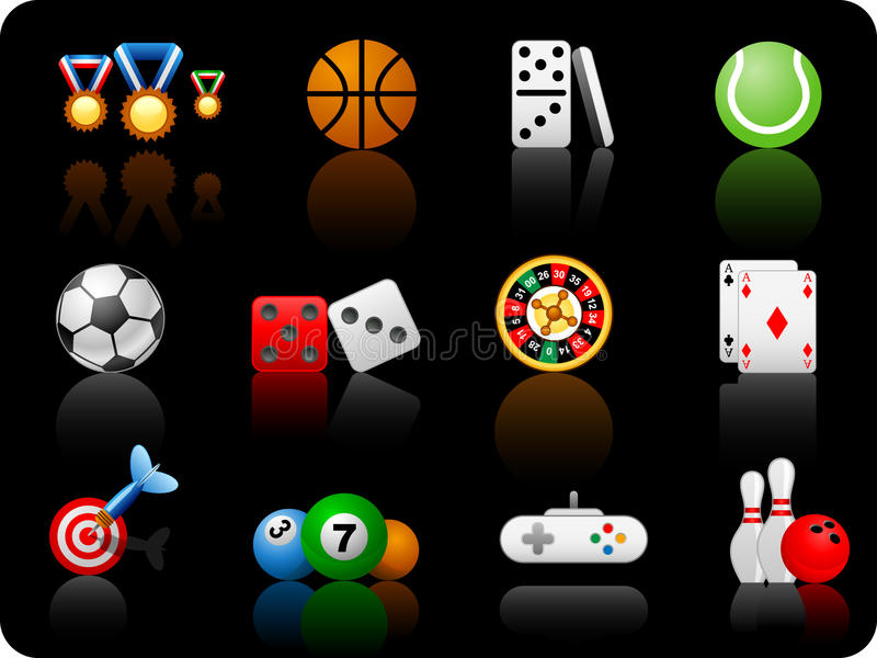 Game_black background. Set of icons on a theme game_black background stock illustration