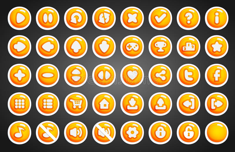 Game buttons in cartoon style vector illustration