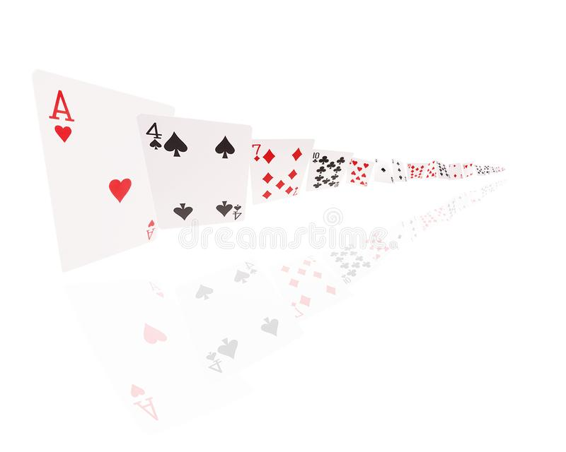 Game cards flying . Isolate on white background stock photos