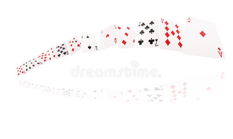 Game cards flying . Isolate on white background stock images