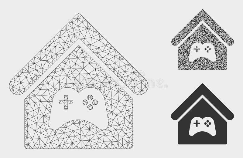 Game Center budynku siatki sieci trójboka i modela mozaiki Wektorowa ikona ilustracji