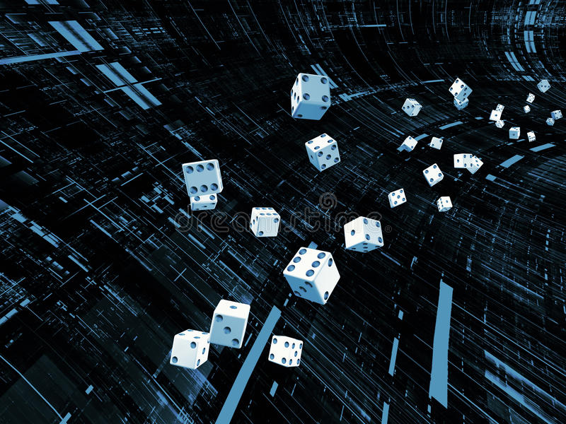 Game of Chance. Interplay of dice and technological background on the subject of chance, luck, risk, mathematics and computation in modern business and vector illustration