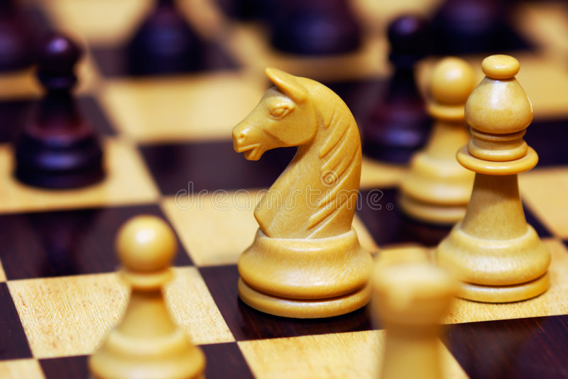 A game of chess. Shown in a shallow depth of field photograph royalty free stock image