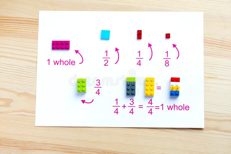 A game for children to learn mathematics. Match the blocks to the account. A game for children to learn mathematics. Match the blocks to the account royalty free stock photos