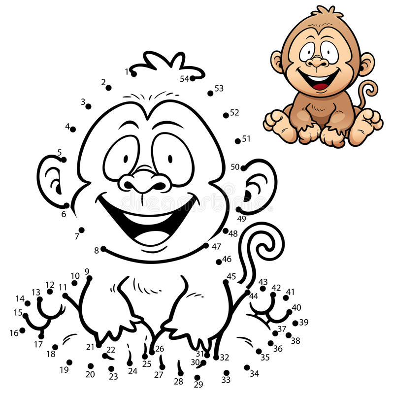 Game for children. Vector Illustration of Education dot to dot game - Monkey stock illustration