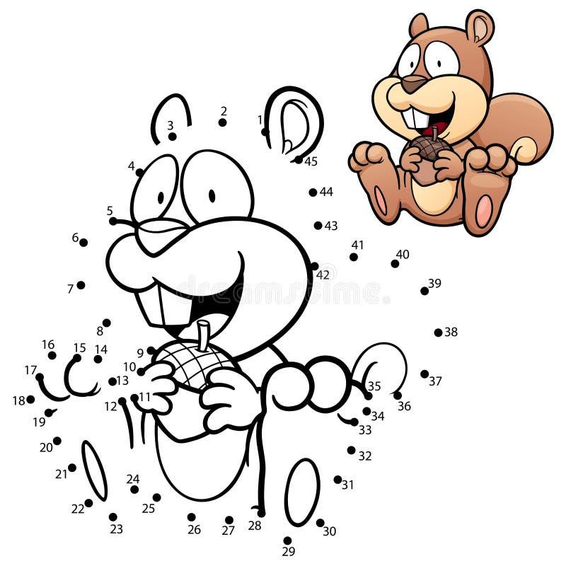 Game for Children. Vector Illustration of Education dot to dot game - Squirrel stock illustration