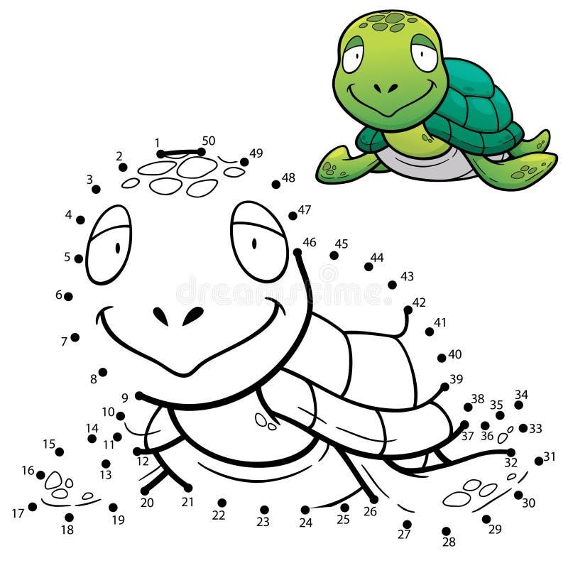 Game for children. Vector Illustration of Education dot to dot game - Turtle stock illustration