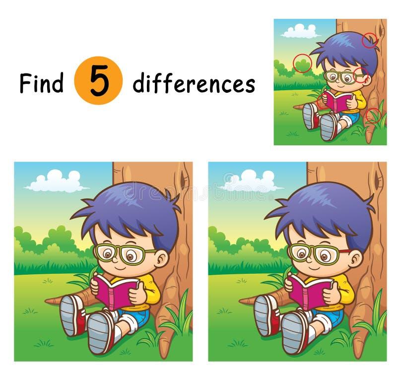 Game for children. Vector Illustration of Game for children find differences - Boy reading a book vector illustration