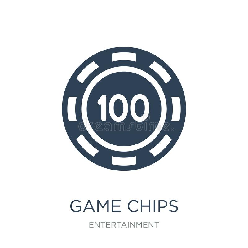 Game chips icon in trendy design style. game chips icon isolated on white background. game chips vector icon simple and modern. Flat symbol for web site, mobile stock illustration