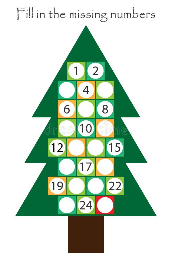 Game with christmas tree for children, fill in the missing numbers, advent calendar, education game for kids, school worksheet royalty free illustration