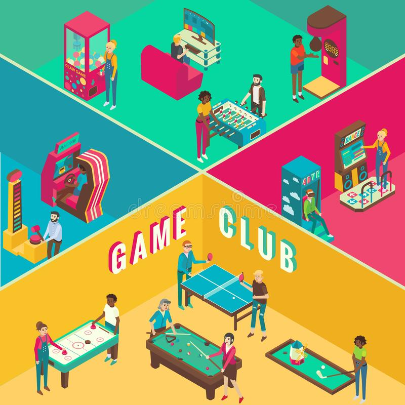 Game club cutaway interior vector flat 3d isometric illustration. vector illustration