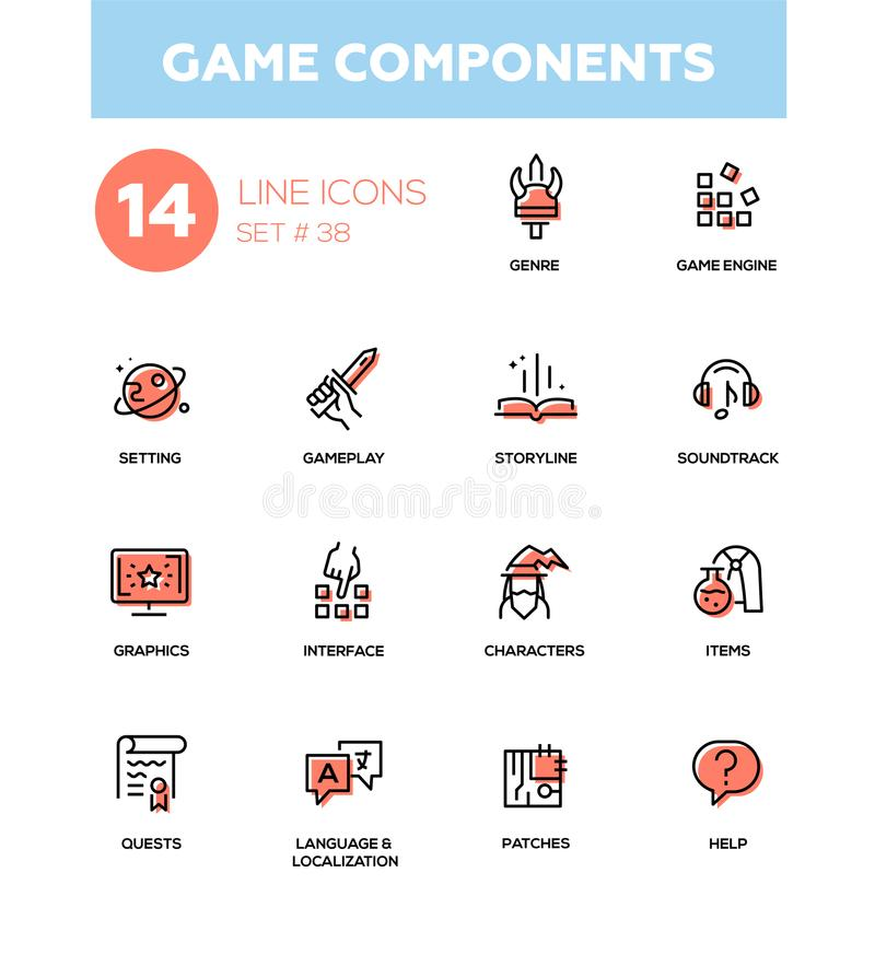 Game Components - modern vector single line icons set royalty free illustration