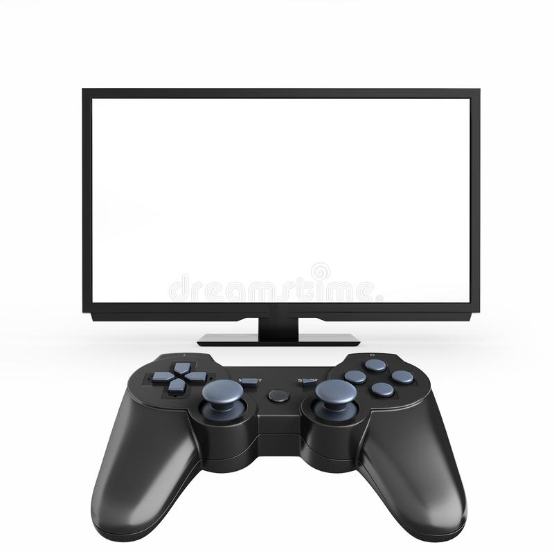 Game concept on the console Illustration of joystick on TV with empty screen background 3d render royalty free illustration